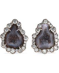 Kimberly Mcdonald - 18-karat Blackened White Gold, Geode And Diamond Earrings White Gold One Size - Lyst