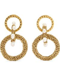 Lucy Folk - Pharaoh Gold-plated, Pearl And Lurex Earrings - Lyst