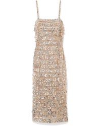 Monique Lhuillier - Tiered Sequin-embellished Tulle Midi Dress - Lyst
