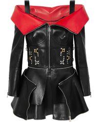 Alexander McQueen - Cold-shoulder Embellished Leather Peplum Jacket - Lyst
