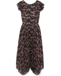 Markus Lupfer - Sadie Pleated Floral-print Crepe De Chine And Chiffon Midi Dress - Lyst