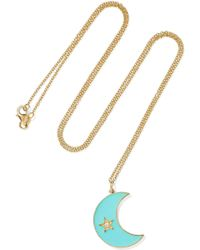 Andrea Fohrman - Crescent Moon 18-karat Gold, Enamel And Diamond Necklace - Lyst