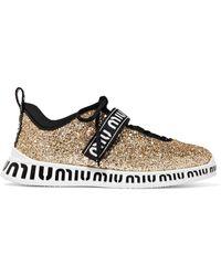 Miu Miu - Logo-print Glittered Neoprene And Rubber Sneakers - Lyst