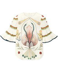 Chloé - Ruffled Printed Silk Blouse - Lyst