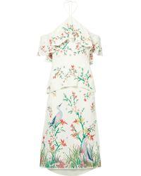 Alice + Olivia | Golda Off-the-shoulder Embroidered Georgette Halterneck Midi Dress | Lyst