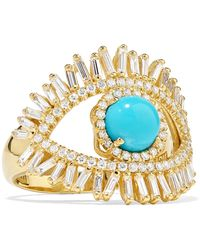 Suzanne Kalan - 18-karat Gold, Diamond And Turquoise Ring - Lyst