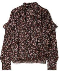 e6a57944bfe Isabel Marant - Libel Ruffled Printed Silk Crepe De Chine Blouse - Lyst