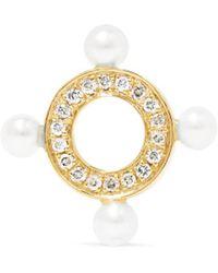 Anissa Kermiche - Quatuor 14-karat Gold, Diamond And Pearl Earrings - Lyst