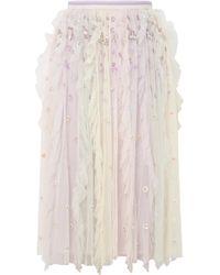 Needle & Thread - Rainbow Embellished Tulle Midi Skirt - Lyst