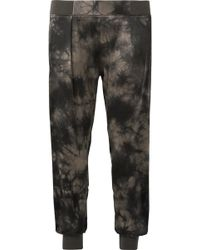 ATM - Tie-dyed Crinkled Silk-charmeuse Tapered Trousers - Lyst