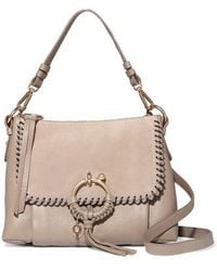 See By Chloé - Joan Small Whipstitched Suede-paneled Textured-leather Shoulder Bag - Lyst