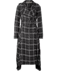 Roland Mouret - Frayed Checked Coated Cotton-blend Coat - Lyst