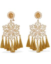 Mercedes Salazar - Hibiscus Nieve Tasseled Gold-tone Faux Pearl Clip Earrings - Lyst