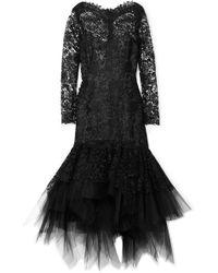 Oscar de la Renta - Corded Lace And Tulle Dress - Lyst