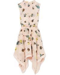 d7c285007448 Self-Portrait - Tiered Floral-print Chiffon Dress - Lyst