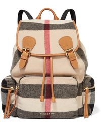 Burberry Prorsum | Medium Leather-trimmed Checked Felt Backpack | Lyst