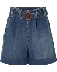 Brunello Cucinelli - Belted Denim Shorts - Lyst