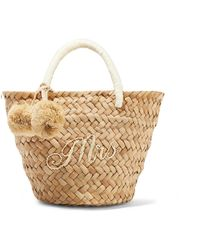 Kayu - St Tropez Mini Pompom-embellished Embroidered Woven Straw Tote - Lyst