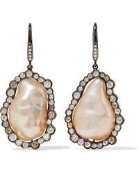 Kimberly Mcdonald - 18-karat Blackened White Gold, Pearl And Diamond Earrings - Lyst