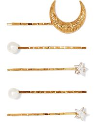 Jennifer Behr - Set Of Five Gold-plated, Swarovski Crystal And Faux Pearl Hair Slides Gold One Size - Lyst