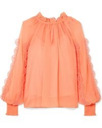See By Chloé - Shirred Appliquéd Chiffon Blouse - Lyst
