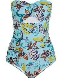 Anna Sui - Cutout Printed Bandeau Swimsuit - Lyst