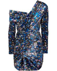 Balenciaga - One-shoulder Printed Stretch-velvet Mini Dress - Lyst