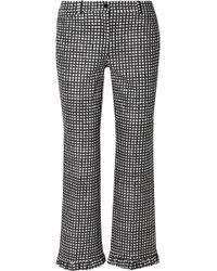 Michael Kors - Ruffled Gingham Cotton-poplin Straight-leg Trousers - Lyst