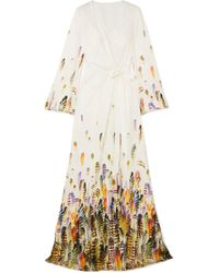 Jenny Packham - Printed Satin Wrap Gown - Lyst