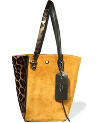 Jimmy Choo - Twist Leather-trimmed Suede And Leopard-print Calf Hair Tote - Lyst