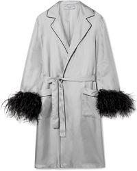 Prada - Feather-embellished Silk-twill Robe - Lyst