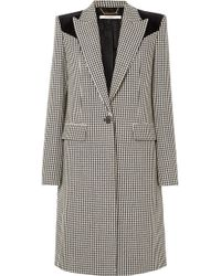 Givenchy - Velvet-paneled Houndstooth Wool Coat - Lyst