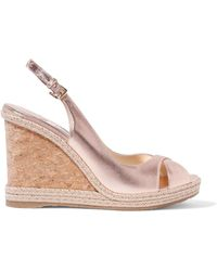 Jimmy Choo - Amely 105 Metallic Leather Espadrille Wedge Sandals - Lyst