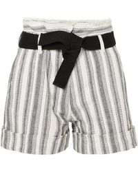 Vanessa Bruno - Ezed Belted Striped Cotton-canvas Shorts - Lyst