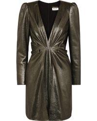 Saint Laurent - Twisted Silk-blend Lamé Mini Dress - Lyst