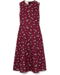 Marni - Floral-print Cotton-poplin Midi Dress - Lyst