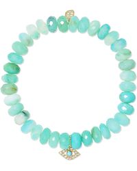 Sydney Evan - Evil Eye 14-karat Gold, Turquoise And Diamond Bracelet - Lyst