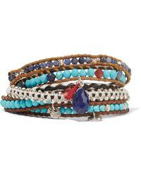 Chan Luu - Leather And Silver Multi-stone Wrap Bracelet - Lyst