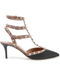 Valentino - Rockstud Leather Court Shoes - Lyst