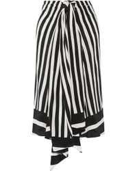 TOME | Tie-front Striped Silk-georgette Midi Skirt | Lyst