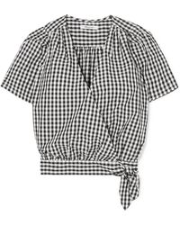 Madewell - Gingham Cotton-poplin Wrap Top - Lyst