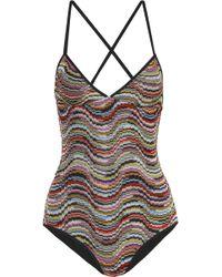 Missoni - Mare Onda Metallic Crochet-knit Swimsuit - Lyst