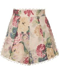 Zimmermann - Melody Crochet-trimmed Floral-print Cotton-blend Shorts - Lyst