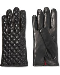 Valentino - Studded Quilted Smooth And Glossed Textured-leather Gloves - Lyst