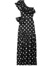 Caroline Constas - Rhea One-shoulder Ruffled Polka-dot Cotton-blend Poplin Maxi Dress - Lyst