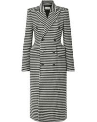 Balenciaga - Double-breasted Houndstooth Wool-blend Coat - Lyst