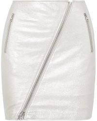 Current/Elliott - The Belen Metallic Textured-leather Mini Skirt - Lyst