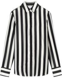 La Ligne - Striped Silk-satin Shirt - Lyst