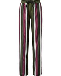 Burberry - Striped Cotton And Silk-blend Satin Straight-leg Trousers - Lyst