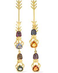 Daniela Villegas - Double Arrow 18-karat Gold Multi-stone Earrings - Lyst